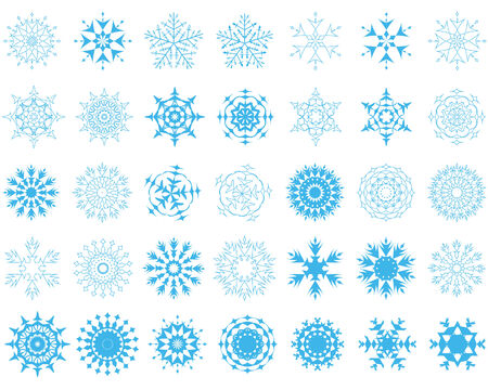 biggest: biggest collection of vector snowflakes in different shape Illustration