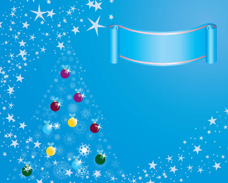 Christmas (New Year) fir-tree with stars. Vector illustration.  Vector