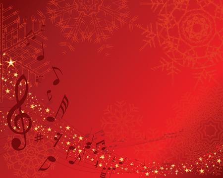 Navidad (Año Nuevo) con tarjeta de saludo musical personal. Vector de fondo.