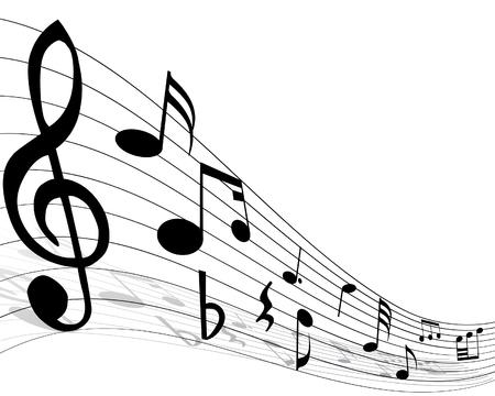 pentagrama musical: Notas musicales de personal con l�neas y sombras