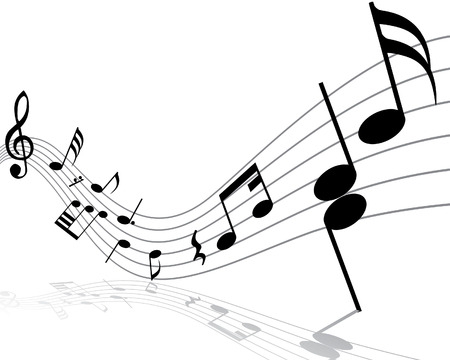 Musical notes staff with lines and shadows Vector