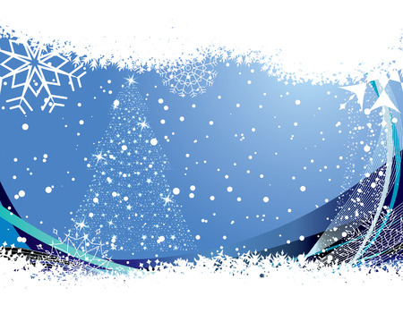 Abstract christmas background with snowflakes frame. Vector illustration. Stock Vector - 3986806