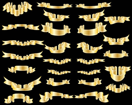 Set of golden vector ribbons on black background Vector
