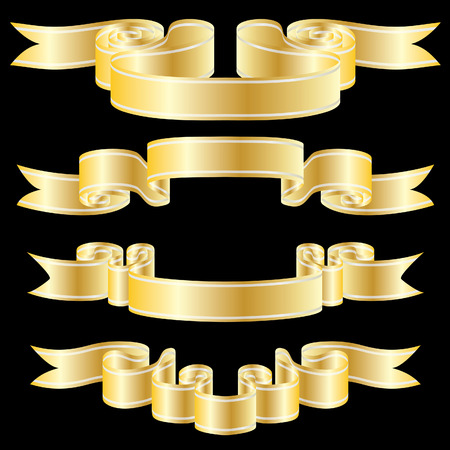 vector ribbons: Set of golden vector ribbons on black background