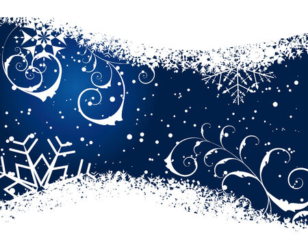 Abstract winter background with snowflakes frame. Vector illustration.  Vector
