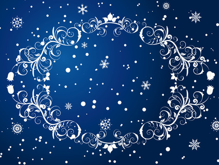 free backgrounds: Victorian winter frame background with snowflakes elements Illustration