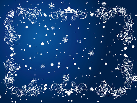 Victorian winter frame background with snowflakes elements Illustration