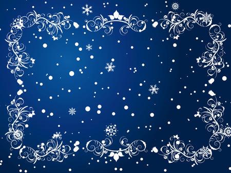 Viktorianische Winter Frame Hintergrund mit Schneeflocken-Elemente