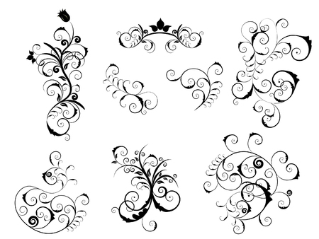 Set of different vector elements for floral or victorian style design