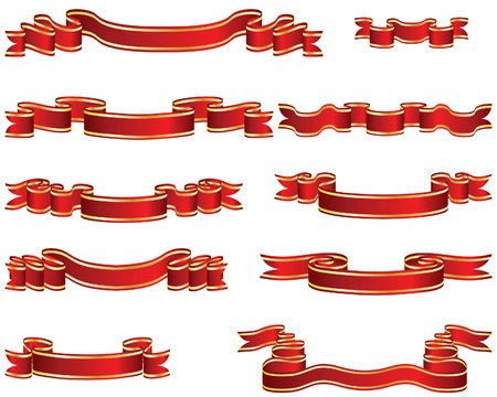 Set of brightly red ribbons on white background Vector