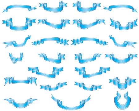 ruban noir: Ensemble de rubans bleu avec perl rayures  Illustration