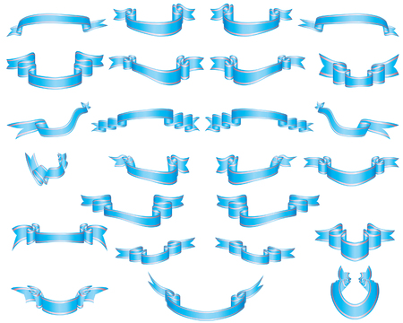 Set of blue ribbons with perl stripes Stock Vector - 4038012