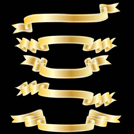 ribbon vector set: Set of golden vector ribbons on black background
