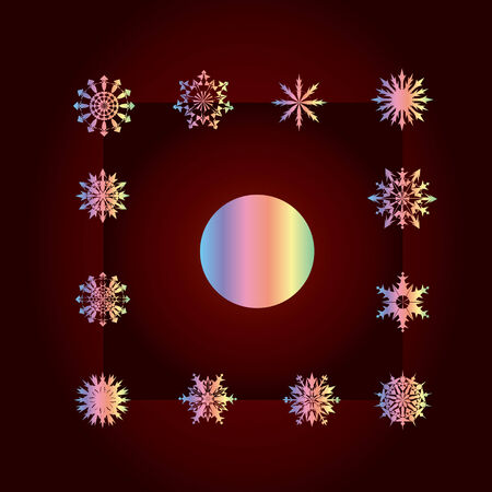 Set of vector snowflakes on gradient background Vector