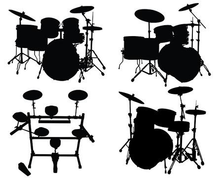 drums: Juego de siluetas vector de diferentes kits de bater�a Vectores