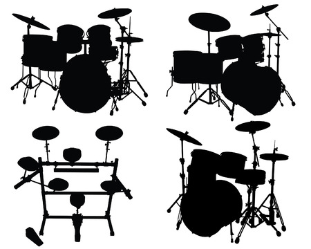 Set of vector silhouettes different drums kits