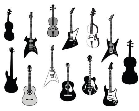 Reihe von detaillierten Vektor Silhouetten verschiedener Gitarren