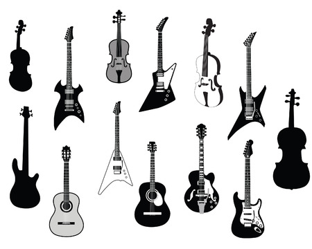 Set of detailed vector silhouettes different guitars  Vector