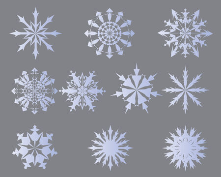Set of vector snowflakes in different shape Vector