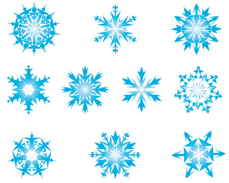 Set of vector snowflakes in different shape Stock Vector - 4086644