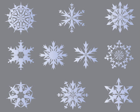Set of vector snowflakes in different shape Stock Vector - 4086641
