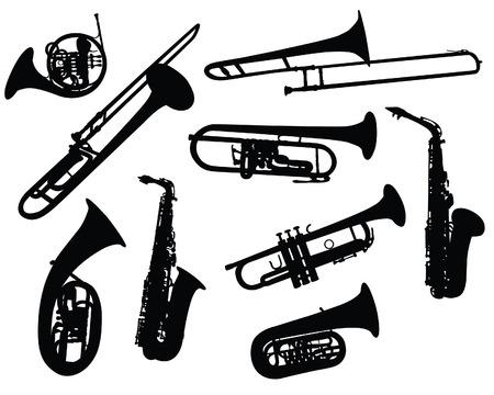Conjunto de vectores de siluetas diferentes instrumentos de viento Ilustración de vector