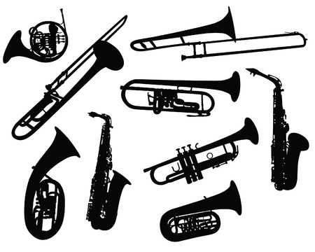 Set of different vector silhouettes wind instruments  Illustration