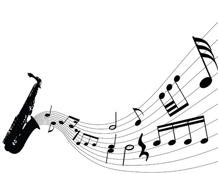 minims: Abstract music background with different notes and wind instrument