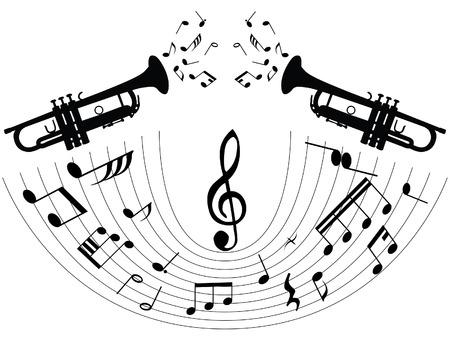 abstract music: Abstracte muziek achtergrond met verschillende opmerkingen en blaas instrument  Stock Illustratie