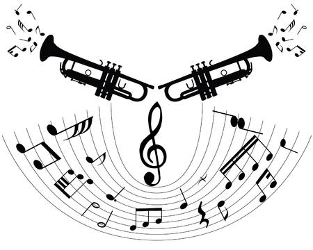 blaasinstrument: Abstracte muziek achtergrond met verschillende opmerkingen en blaas instrument  Stock Illustratie
