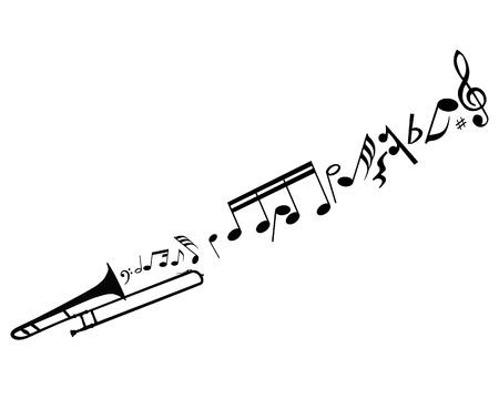 blaasinstrument: Abstract muziek achtergrond met verschillende notities en wind instrument