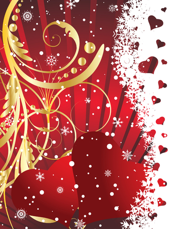 St. Valentine Day floral greeting card with hearts Stock Vector - 4102948