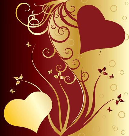 st valentine: D�a de San Valent�n florales de tarjetas de felicitaci�n con corazones Vectores