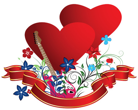 vector images: St. Valentine Day floral greeting card with hearts