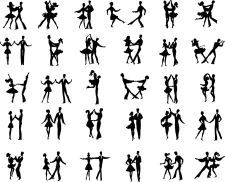 ballet slipper: Collection of vector ballroom pair dancers silhouetes