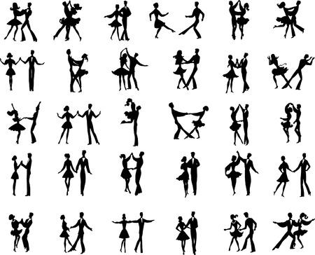 Colección de vectores de baile par bailarines silhouetes