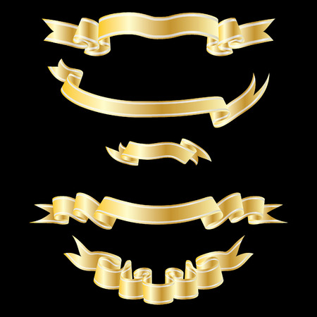 Set of golden striped ribbons on black background Stock Vector - 4128340