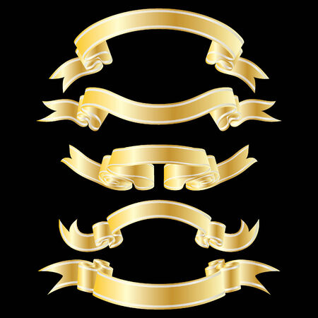 Set of golden striped ribbons on black background Stock Vector - 4128343