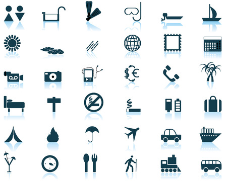 Biggest collection of different travel icons for using in web design Stock Vector - 4142779