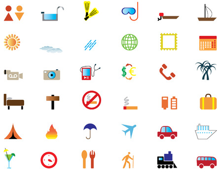 biggest: Biggest collection of different travel icons for using in web design Illustration
