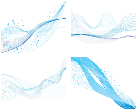 Set of four abstract vector water background Illustration