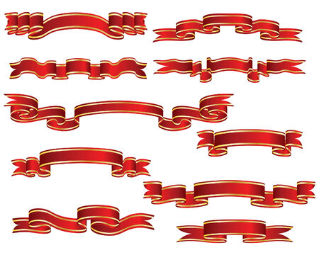 Set of brightly red ribbons on white background Stock Vector - 4169152