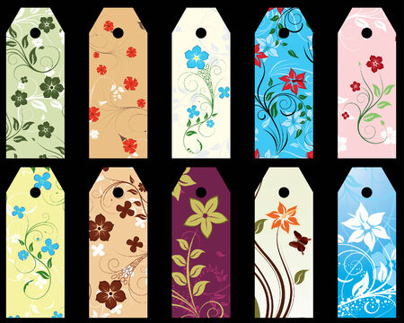 procent: Set of ten vector floral bookmark labels Illustration