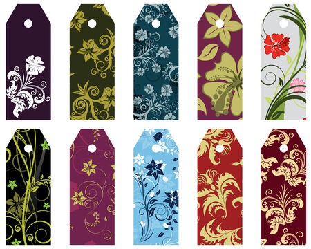 Set of ten vector floral bookmark labels Illustration