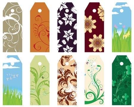 Set of ten vector floral bookmark labels Vector