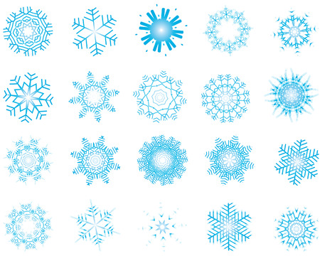 Set of different vector snowflakes in blue-white color Stock Vector - 4169161