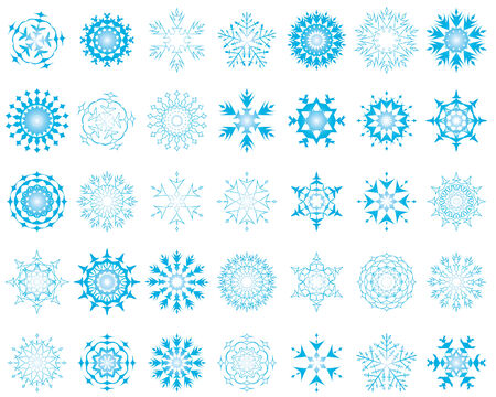 Set of different vector snowflakes in blue-white color Vector