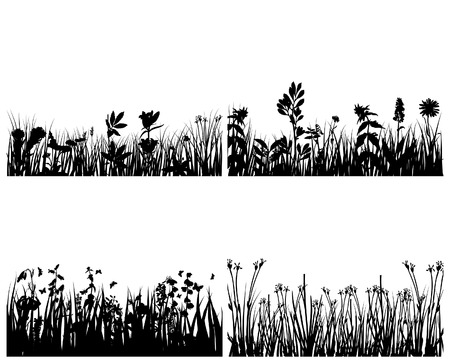 Set of four vector grass silhouettes backgrounds  Stock Vector - 4183469