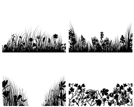 Set of four vector grass silhouettes backgrounds Stock Vector - 4183497