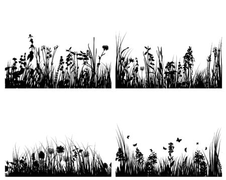 Set of four vector grass silhouettes backgrounds  Stock Vector - 4183499